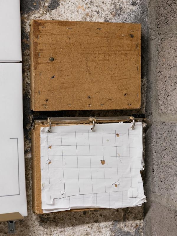 Chris Zacher  Calendar with thumbtacks , 2018 Bulletin board, thumbtacks, three-ring binder, paper, ink, wood and hardware 11.5 x 17 x 2 inches