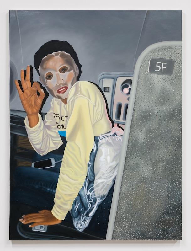 Adriane Connerton  Izzy Masking , 2018 Oil on canvas 48 x 36 inches