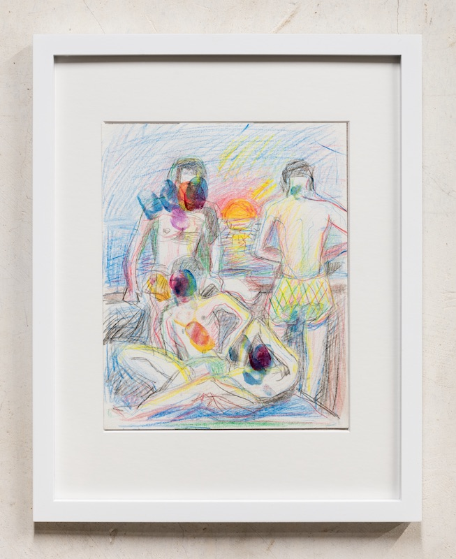 Graham Durward  Sunburnt Finer Prints , 2019 Graphite, color pencil and varnish on paper 9.5 x 7.5 inches