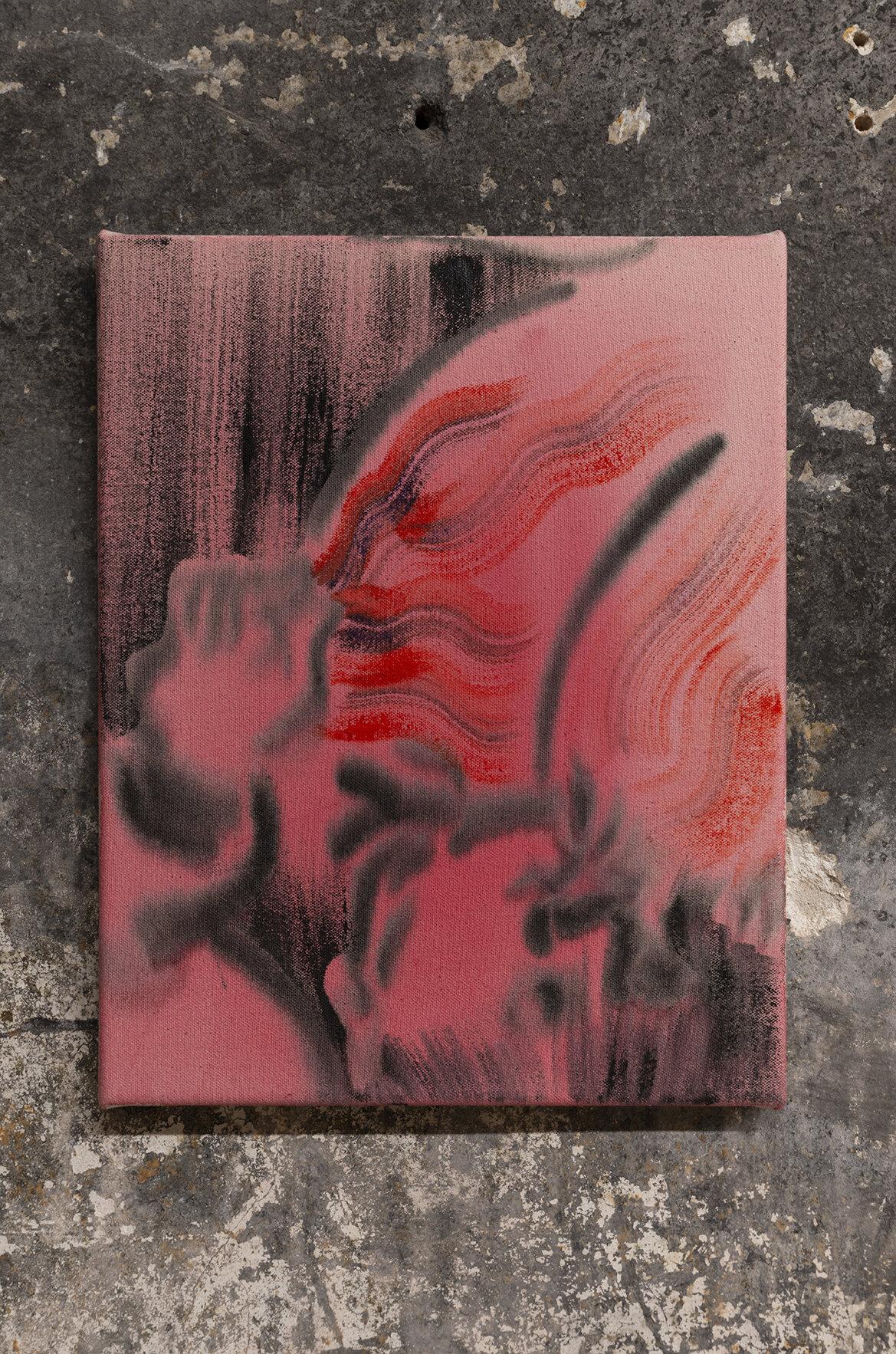 Geetha Thurairajah, Born Again, 2019 Fabric dye and acrylic on canvas 11 x 14 inches