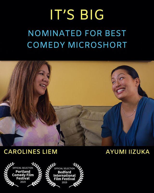 Exciting news for It's Big, my newest short film... it's been nominated for Best Comedy Microshort by @portland.comedy.film.festival AND it's been selected to screen at #bedfordinternationalfilmfest in July!! Can't wait to hit Portland next weekend. @accesscarolineliem @ayumi.iizuka @senda.bo @jacks.pruitt @lokofilmz @billpruitt @raymondmetoyer @awd_directors @womeninmediainc @womeninfilmla #femaledirector #femalefilmmaker #comedy #shortfilm #director #sizematters #friends #awkwardmoments #portland