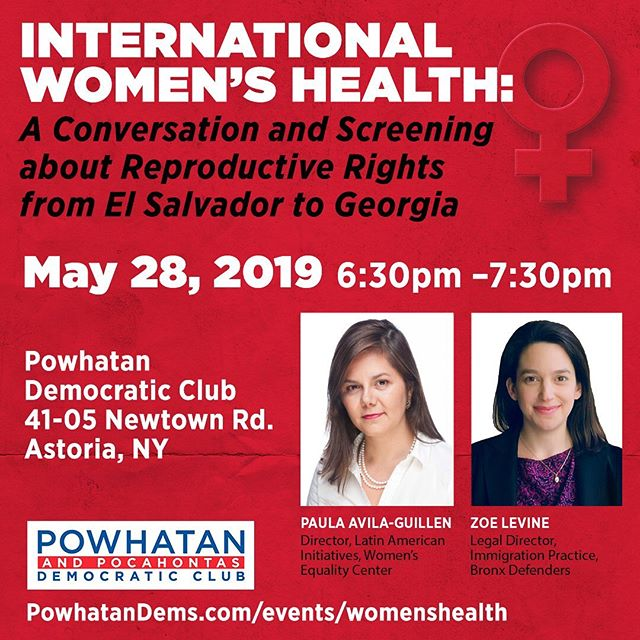 """Women's reproductive rights are under attack around the world. Join us tonight at 6:30pm at the clubhouse with speakers Paula Avila-Guillen and Zoe Levine, who will discuss recent bills that seek to ban abortions in the U.S., and their similarities with existing abortion restrictions and outright bans in Latin American countries.  The presentation includes a screening of 15 minutes from the documentary """"They Are Not Alone,"""" which takes an unflinching look at El Salvador's total abortion ban through the lives and trials of four women whose pregnancies took them from hospital beds to prison cells.  #WomensRightsAreHumanRights #abortionban #TheyAreNotAlone #reproductiverights #mybodymychoice #astoria #queens #newyork"""