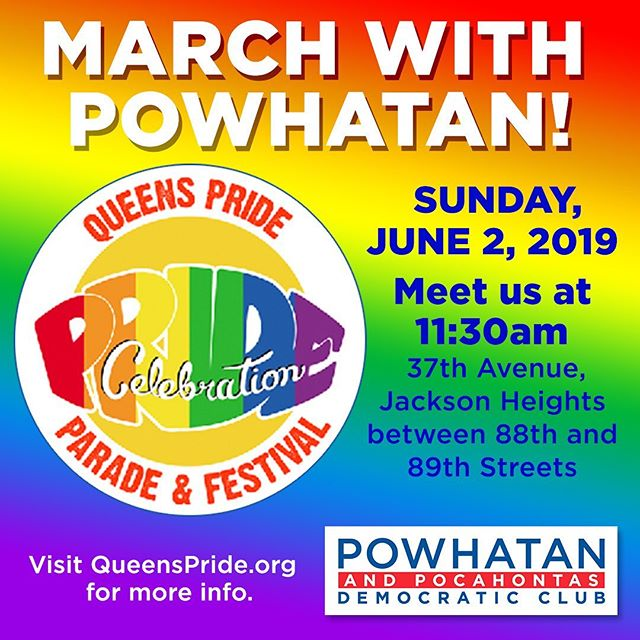 Join us on Sunday, June 2nd at the Queens Pride! We'll be marching in the parade with our members alongside some of our fellow democratic clubs. Message us if you want to join and we'll tell you where to meet. The parade kickoff is at 12 but we'll meet before that. Bring your friends, your rainbow gear, and your support for LGBTQ+ Pride! Hope to see you there!  #astoria #democrats #lgbtq🌈 #pride #queenspride #pridemarch #prideevents #queens #worldpride2019 #nycpride