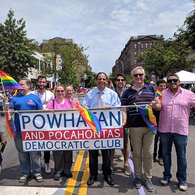 This year's Pride will mark 50 years since the Stonewall Riots that launched the LGBTQ+ movement, and in Queens we mark 26 years since we started commemorating the death of then 29 year old Julio Rivera in 1993, who was attacked in a schoolyard for being gay.  Yesterday the Powhatan Democrats marched in celebration of the progress we've made in the years that have followed, and the LGBTQ Queens community which is stronger than ever!  Thank you to everyone who marched with us, thank you to our city councilman @costa4ny who joined in our celebration, and thank you to everyone who came out to cheer us along the parade route! Happy Pride Month everybody!  #queenspride #lgbtq🌈 #democrats #queens #jacksonheights #pridemonth #pride #powhatan #nycpride #lgbtq #prideparade