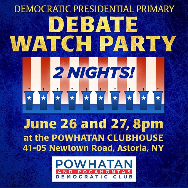 Looking forward to Democratic Presidential Primary debates? So are we!  Join us on June 26 and June 27 for our very own Debate Watch Party!  Doors open at 8pm. Debate starts at 9pm ✅ Drinks ✅ Snacks ✅ Games  Come watch the debates with us! We hope to see you there!  #democrats #astoria #queens #democraticclub #debates #debatewatch #presidentialdebates #primary #democraticprimary