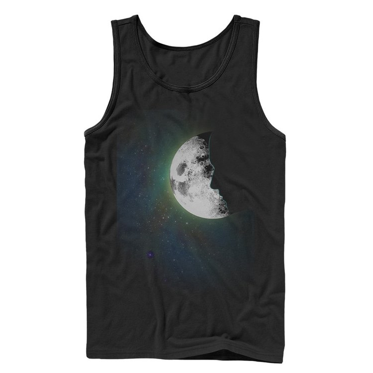 Illuminated full moon on a dark gray tank top. Half of the moon is covered with a silhouette of a face.