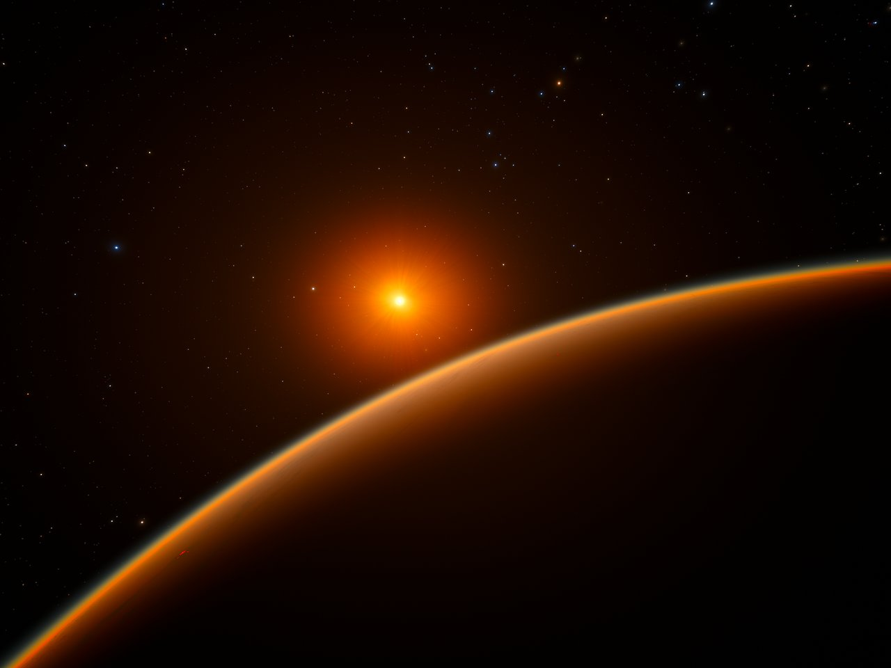 Artist's version of LHS 1140b and red dwarf host star. CREDIT: ESO/ spaceengine.org