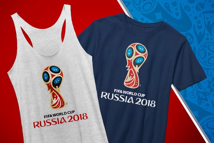 """Photo of gray tank top and navy t-shirt with """"FIFA World Cup: Russia 2018"""" and logo printed across the front"""