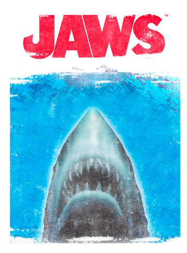 """text """"jaws"""" is in bright read and underneath is a great white shark in the ocean baring its sharp teeth underwater"""