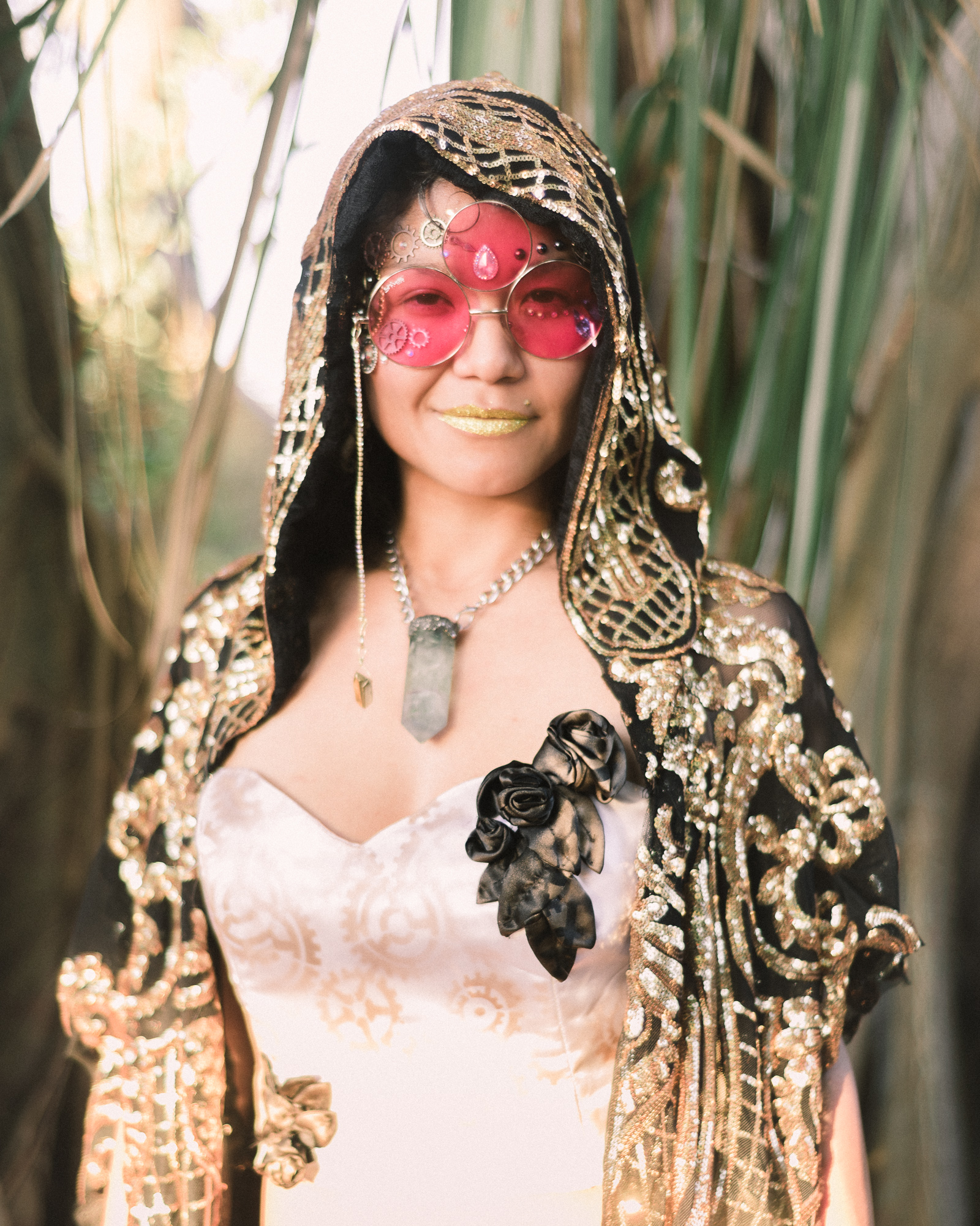 The Renaissance Festival 2018 - The entrancing fabrics that glimmer in the light, similar to Claude Monet's, 'Rouen Cathedral in Full Sunlight - Harmony in Blue and Gold', 1893, are beautiful handmade clothing designs covered in jewels, perfectly crafted by Maritza X. Rey. These custom designs that swirl you with mesmerizing silvers and golds make it easy to get lost in a rabbit hole through time, perfectly matching Florida's annual Renaissance Festival, 'Time Travelers' theme (2018).