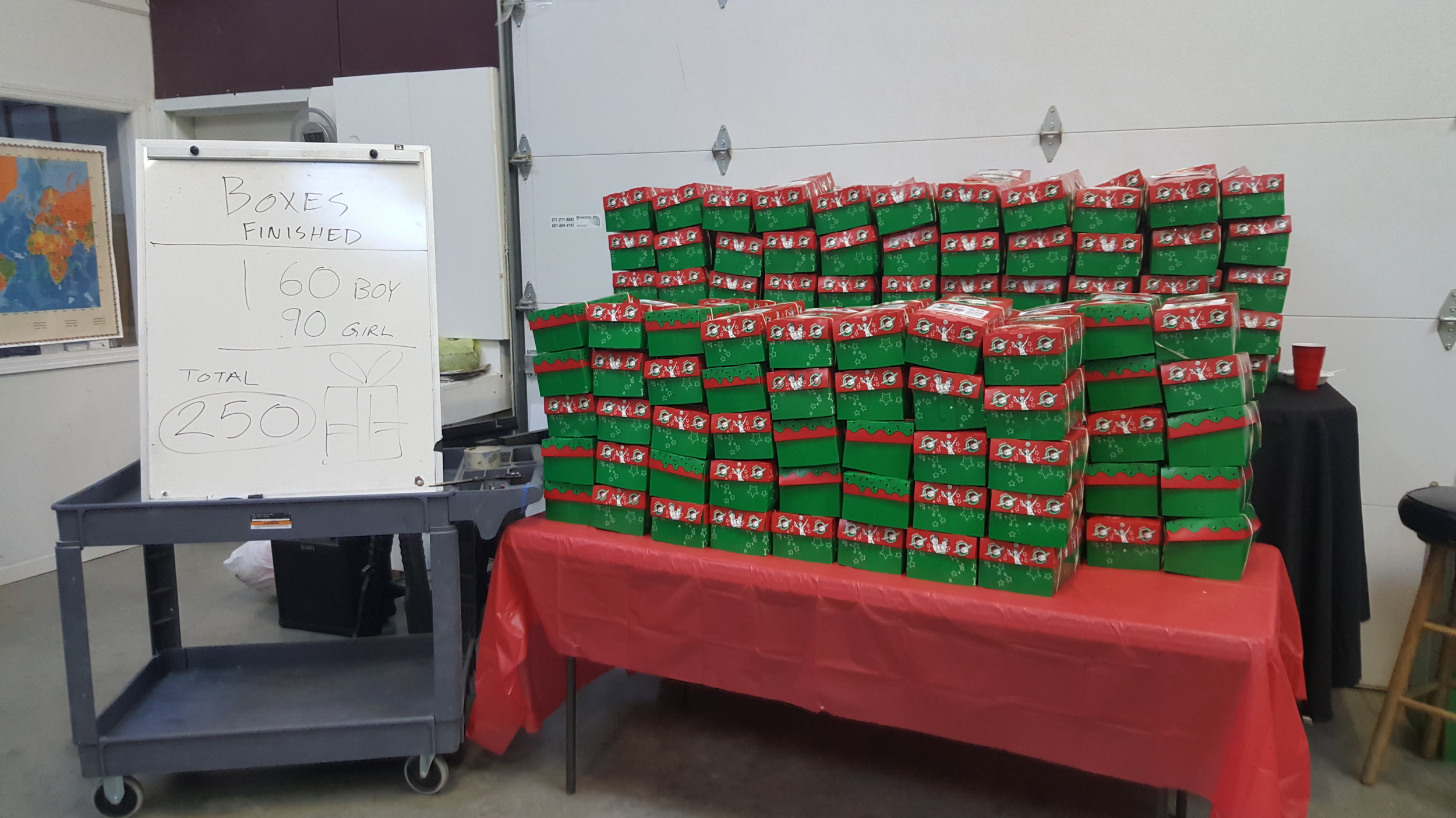 The community came together for the holiday season by packing 250 shoe boxes for Operation Christmas Child.