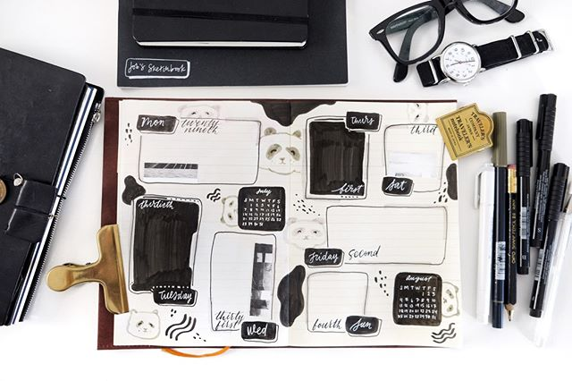 Trying something different with this spread! It's kind of a bullet journal spread that's not for planning. I intend on writing a short blurb about my day in each of the boxes. If you want to see how I created this spread, click the link in my bio to watch my newest video! (Also the panda motif is love) 🐼🐼🐼⠀ ⠀ .⠀ .⠀ .⠀ .⠀ .⠀ #jobsjournal #pandas #brushlettering #collage #journal #stationery #junkjournal #scrapbook #studygram #art #planning #lettering #study #agenda #journaling #calligraphy #notebook #handmade #washitape #mixedmedia #studygram #diary #stationeryaddict #planneraddict #travelersnotebook #midori #midoritravelersnotebook #mdpaper #travelerscompany #mdpapernotebook