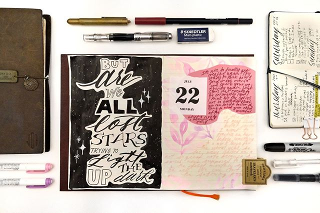 I rewatched Begin Again and have totally fallen in love with the movie soundtrack again. Lost Stars is such a beautiful song and I think the duality in this spread matches the sad but hopeful tone of the song. Happy Monday everyone! ⭐️✨💫⠀ .⠀ .⠀ .⠀ .⠀ .⠀ .⠀ #jobsjournal #mdpaper #mdpapernotebook #watercolor_guide  #journal #stationery #watercolour #art #calligraphy #journallove #painting #lettering #study #moderncalligraphy  #journaling #pinkaesthetic #pastels #watercolor #collage #washitape #mixedmedia #letteringleague #watercolor_art #stationeryaddict #midori  #travelersnotebook  #midoritravelersnotebook  #mtn  #travelerscompany #travelersfactory