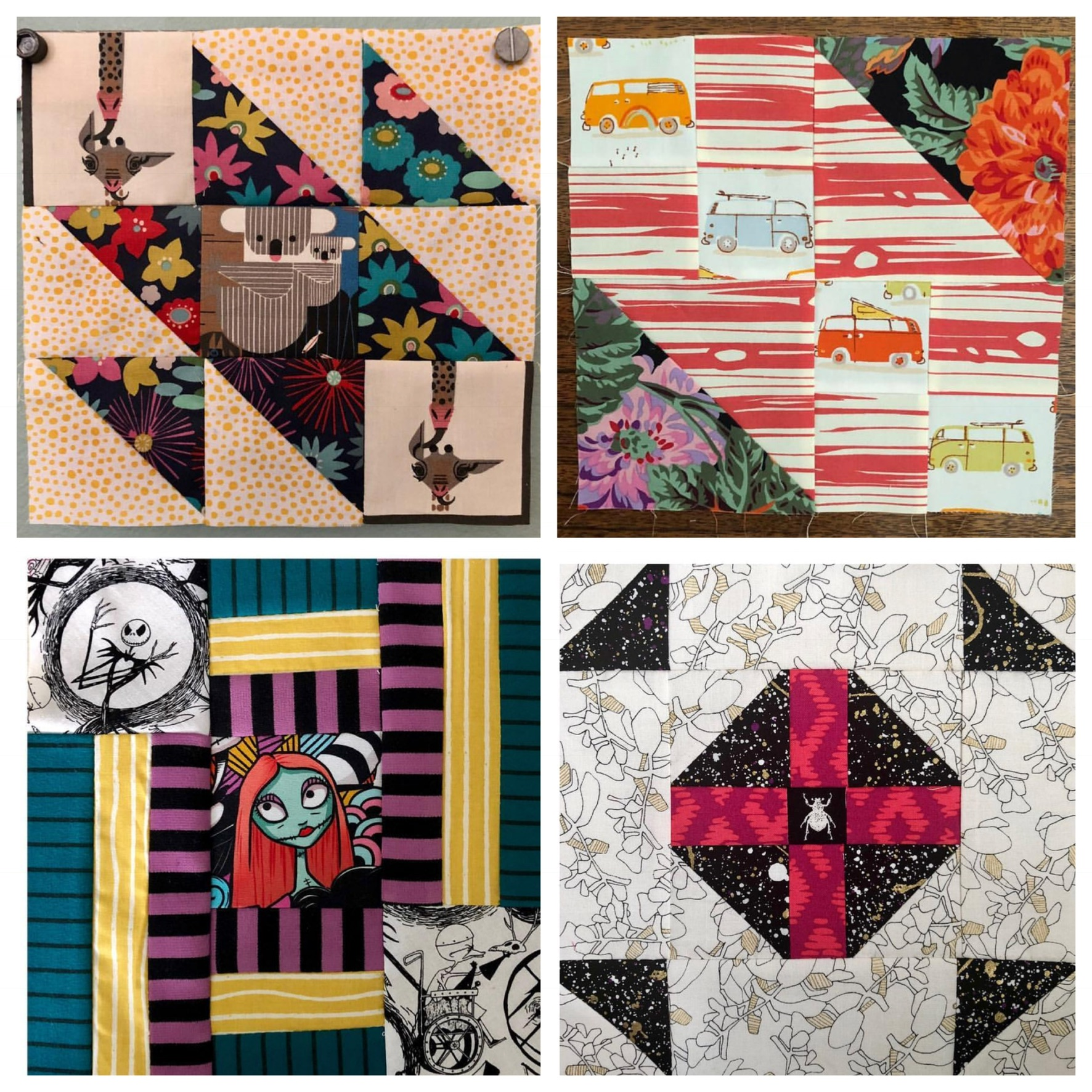 @polygirl  has added extra layers of challenge to her blocks, incorporating other substrates in some, like knits for her stripe block!