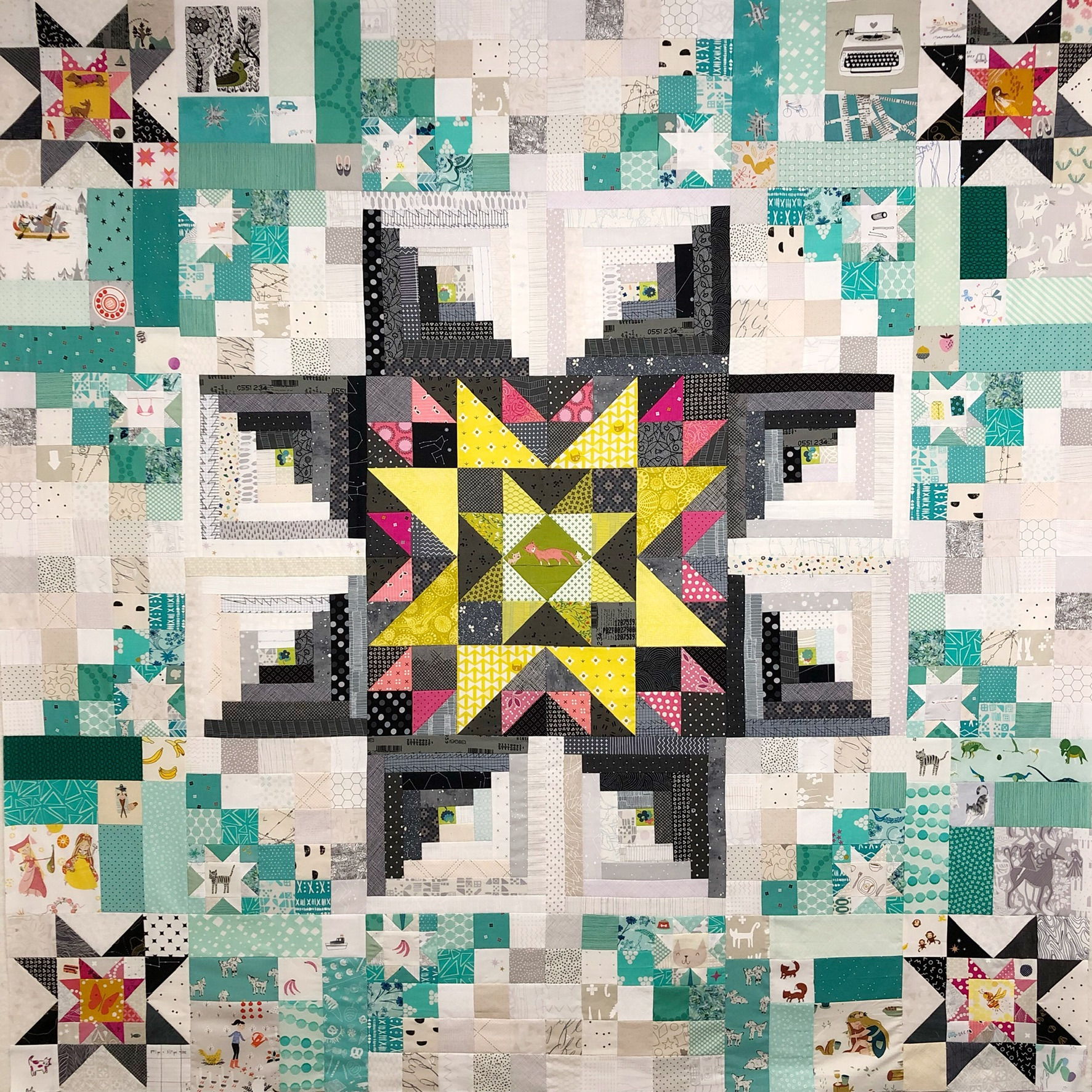 This quilt for my Niece started its life as the Amish with a Twist pattern by  Nancy Rink . I added large log-cabin style blocks to the corners and finished with a star-in-star block. (I'm still working on quilting this one!)