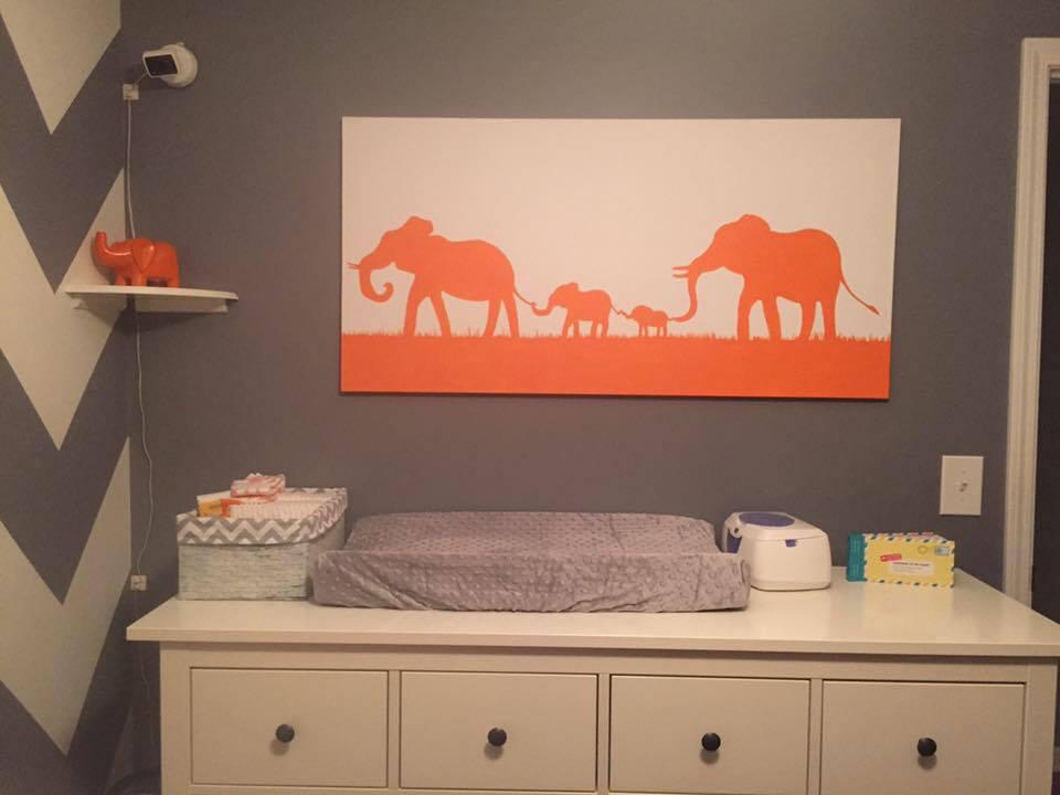 Elephant Family Canvas - for the nursery