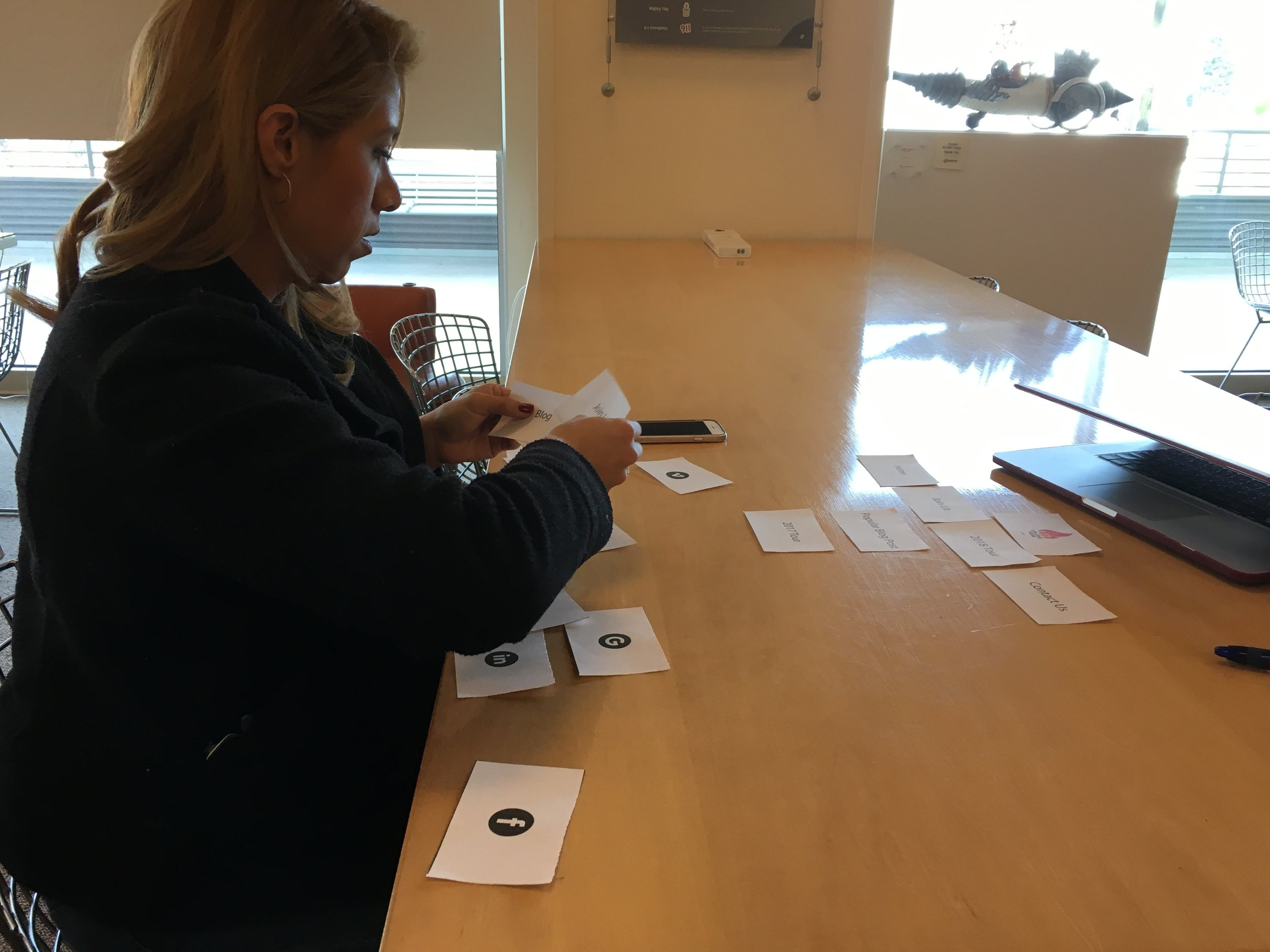 User performing a card sort