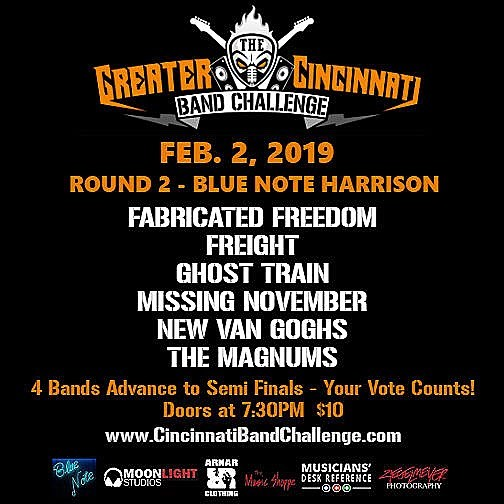 Tomorrow Night: Round 2 of the Greater Cincinnati Band Challenge takes place at Blue Note Harrison featuring 6 local bands with 4 advancing to the Semi-Final round. Doors open at 7:30pm and Ghost Train takes the stage at 9:45pm. Tickets are $10 at the door. #support #local #music #cincinnati #ohio #rock #battleofthebands #cincymusic