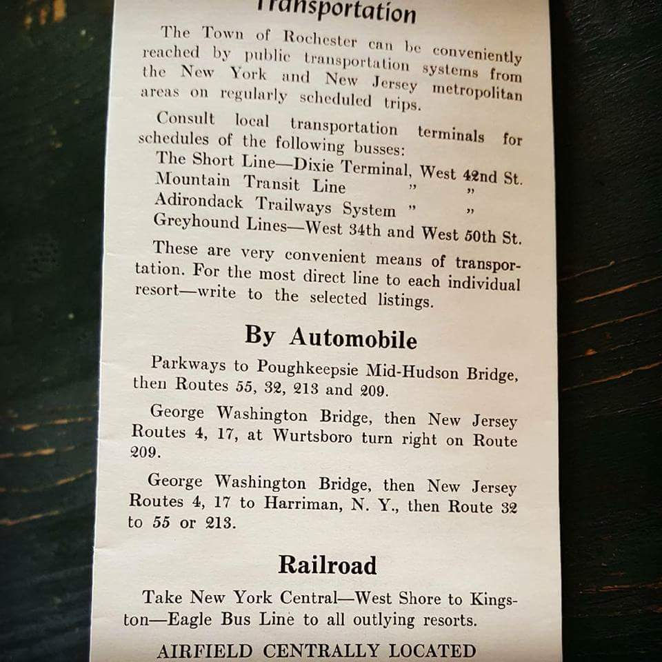 How to get to town of rochester from old brochure circa 1950