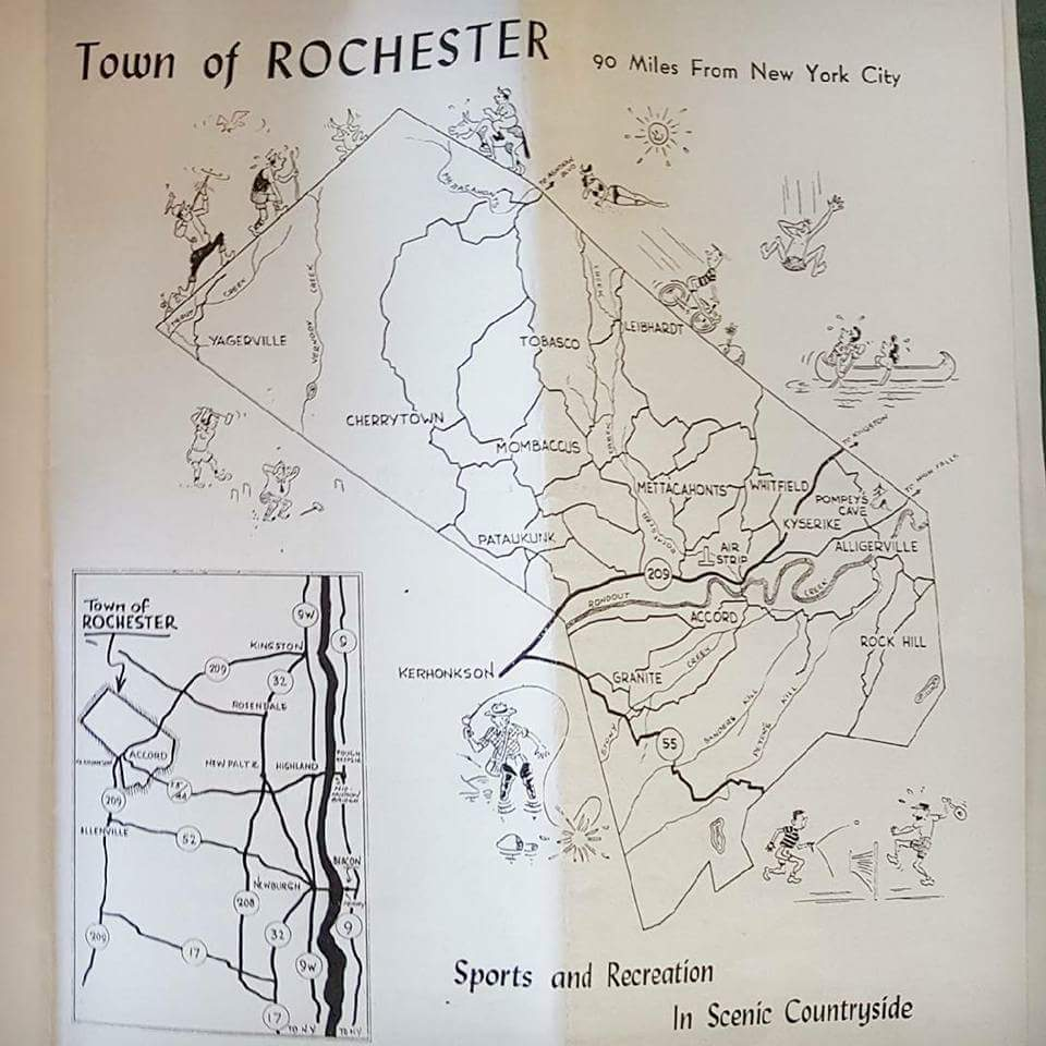 map from old Town of Rochester brochure circa 1950