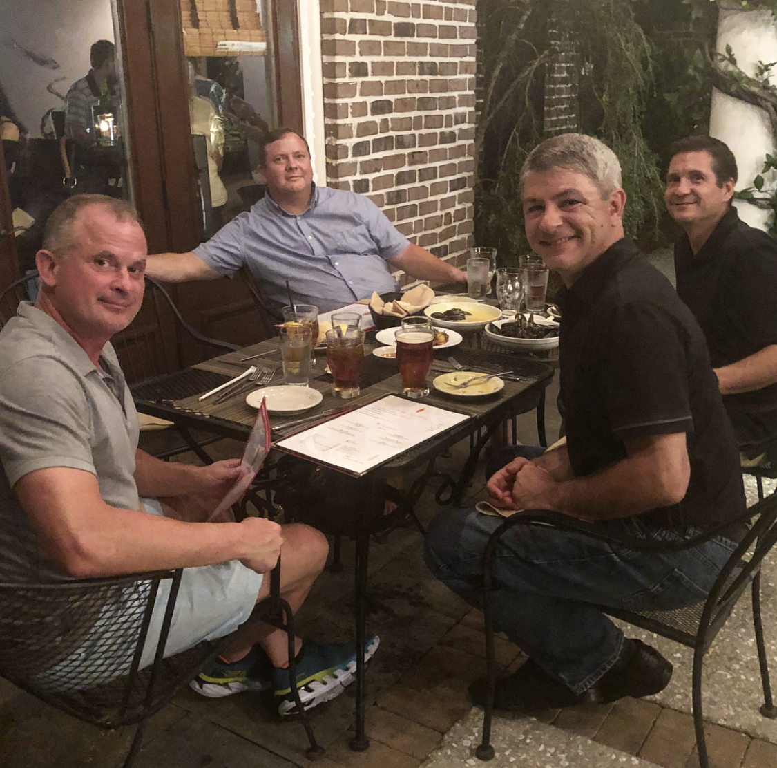 Team Bravas enjoying dinner at Sermet's in Daniel Island, South Carolina. Jay Noce, Tyler Pierson, Carmen Amici and Chris Baker.