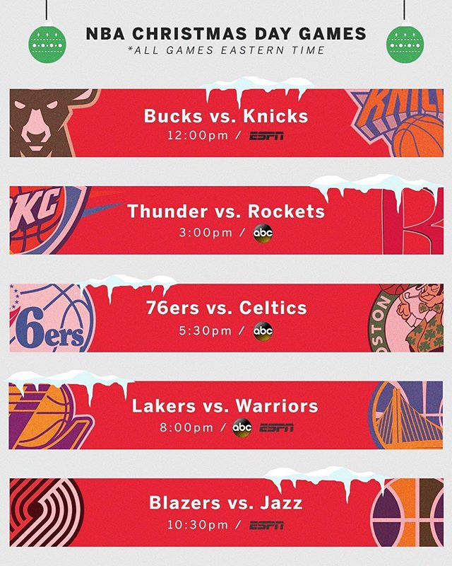 #NBA Christmas Day lineup | Which games are you looking forward to the most? 🎄🏀