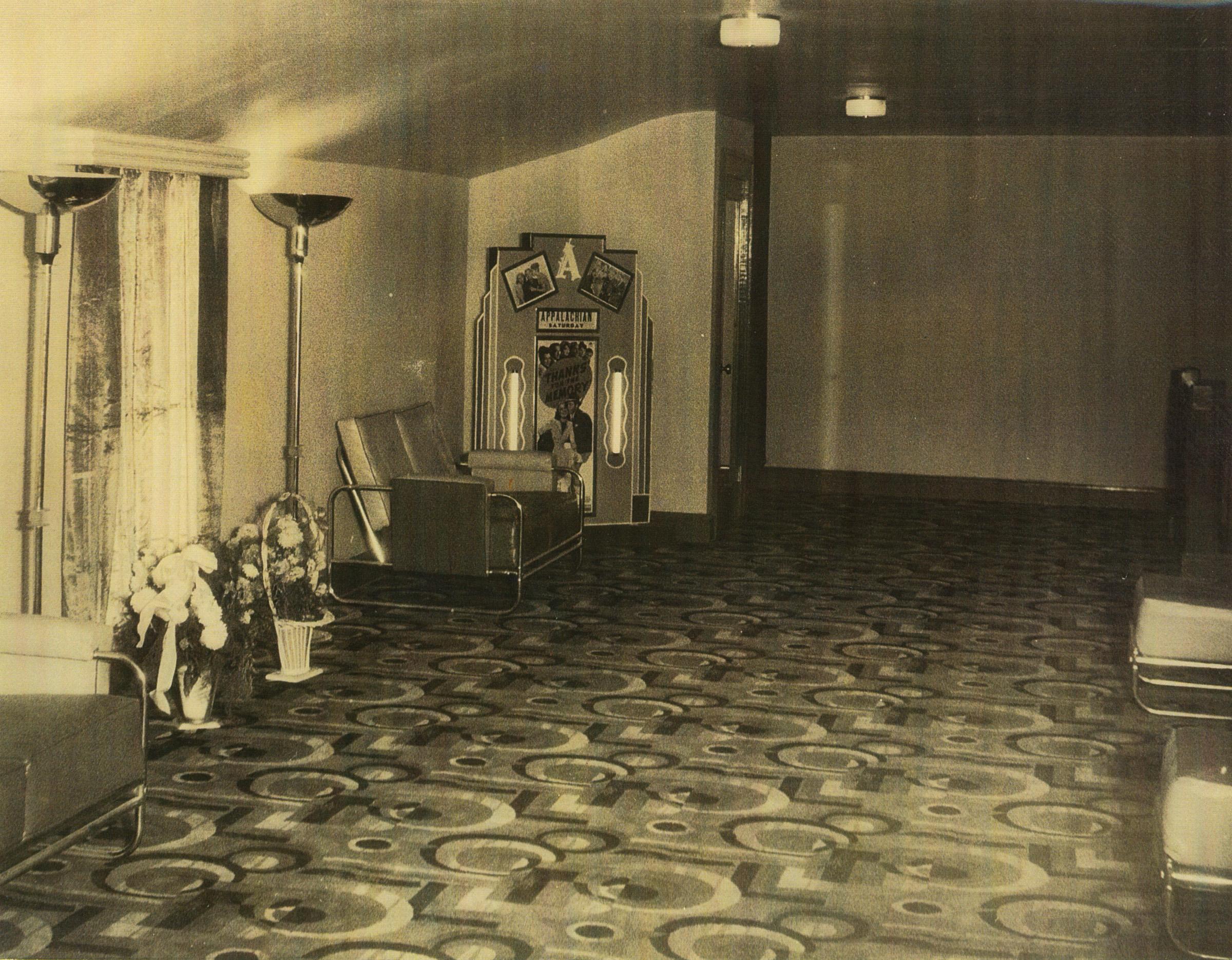 Mezzanine of the Appalachian Theatre, 1938. Image courtesy of the Sams Family.