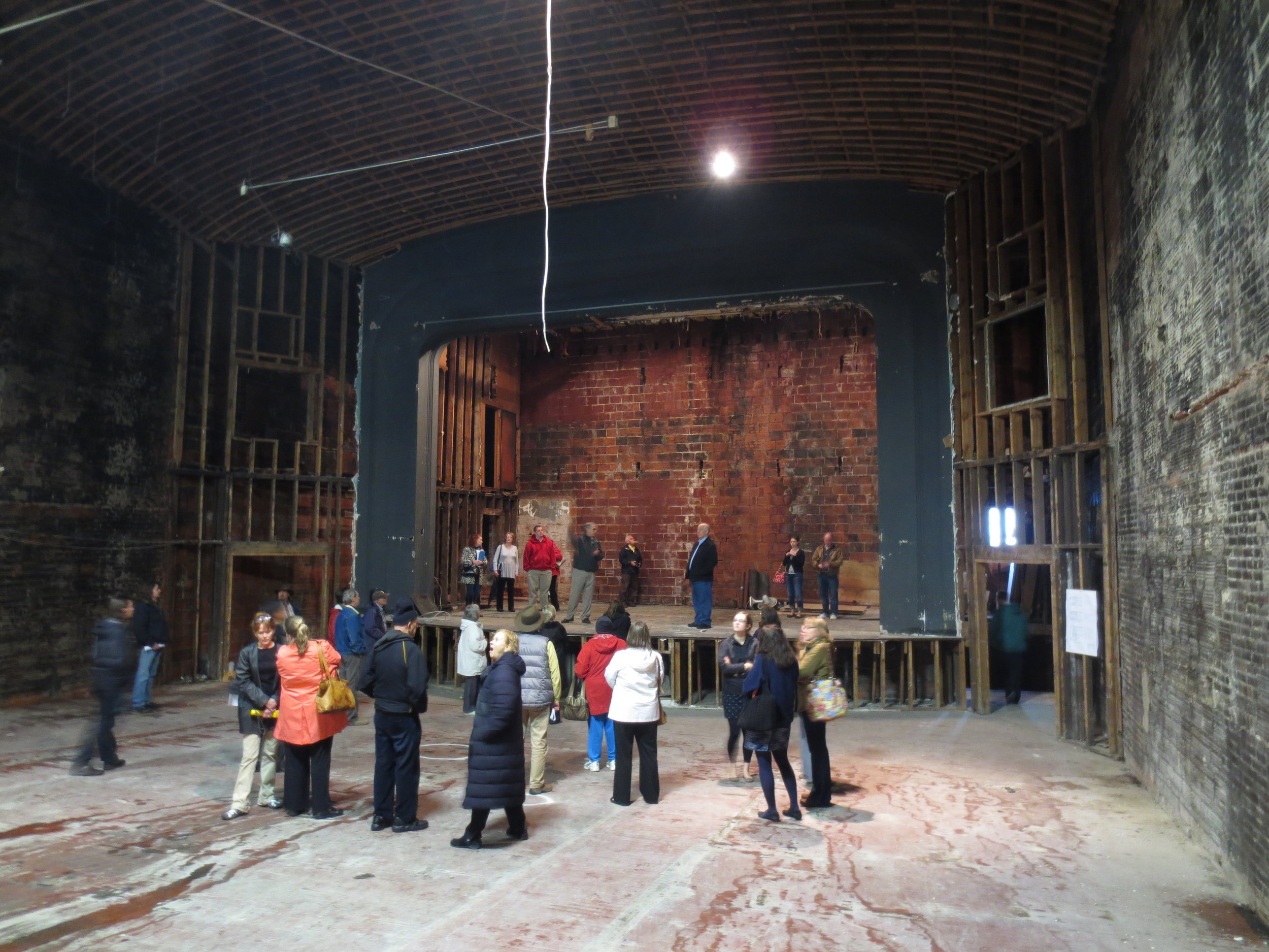 The gutted auditorium and stage of the Appalachian Theatre as it appeared in May 2013. Image courtesy of Eric Plaag.