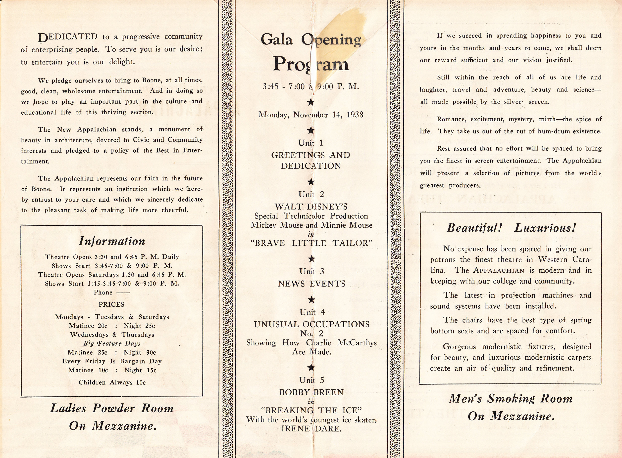 Inside pages from the Souvenir Program for the Appalachian Theatre's Gala Opening, November 14, 1938.
