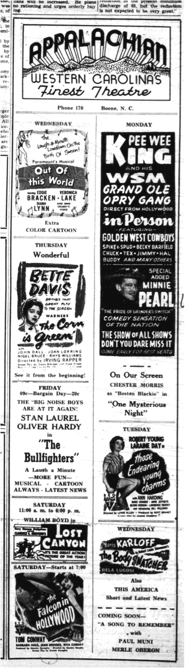 Advertisement from the  Watauga Democrat , August 2, 1945, page 5.