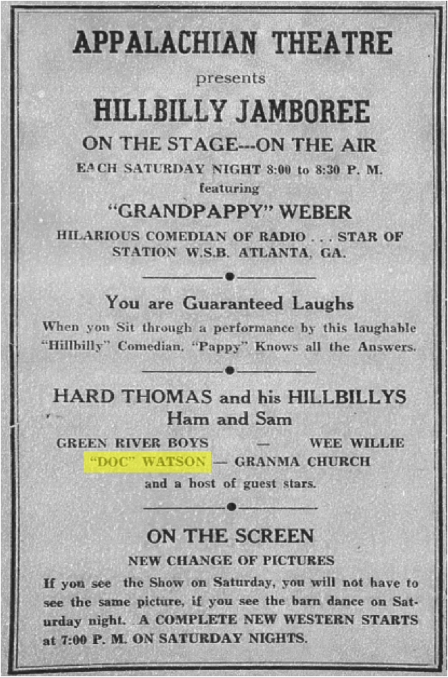 Advertisement from the September 11, 1943, issue of the  Watauga Democrat , listing Doc Watson as one of the performers in the  Hillbilly Jamboree  at the Appalachian Theatre. [Highlighting added]