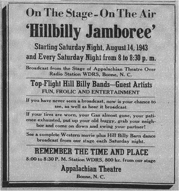 First advertisement for the  Hillbilly Jamboree,  from the August 12, 1943, issue of the  Watauga Democrat .