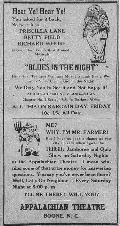 Advertisement for the  Hillbilly Jamboree and Quiz Show  from the October 7, 1943, issue of the  Watauga Democrat.