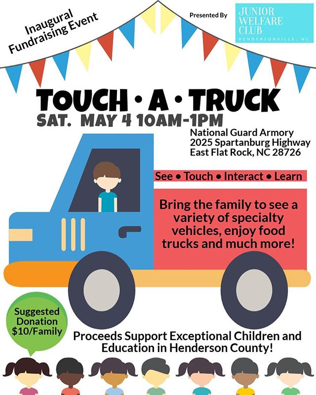 Touch•A•Truck is this Saturday!! Bring the whole family to see a variety of specialty vehicles such as: a fire truck, police car, cement truck, and much more!! Pelican SnoBalls will be there too 🍧! A suggested donation of $10/family goes directly to exceptional children and education in Henderson County 📚. #hendersonvillenc #visithendersonvillenc #trucks #children #828isgreat #juniorwelfareclub