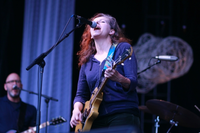 Neko Case performs at Solid Sound Festival June 22, 2013, with Eric Bachmann at left. Photo by Eric R. Danton.