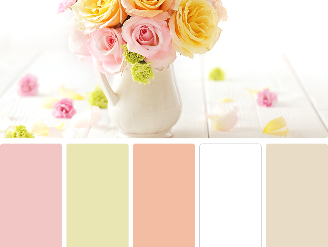 Sherwin Williams – Bella Pink (SW 6596), Sherwin Williams – Springtime (SW 6708), Sherwin Williams – Certain Peach (SW 6625), Sherwin Williams – High Reflective White (SW 7757), Sherwin Williams – Antique White (SW 6119)