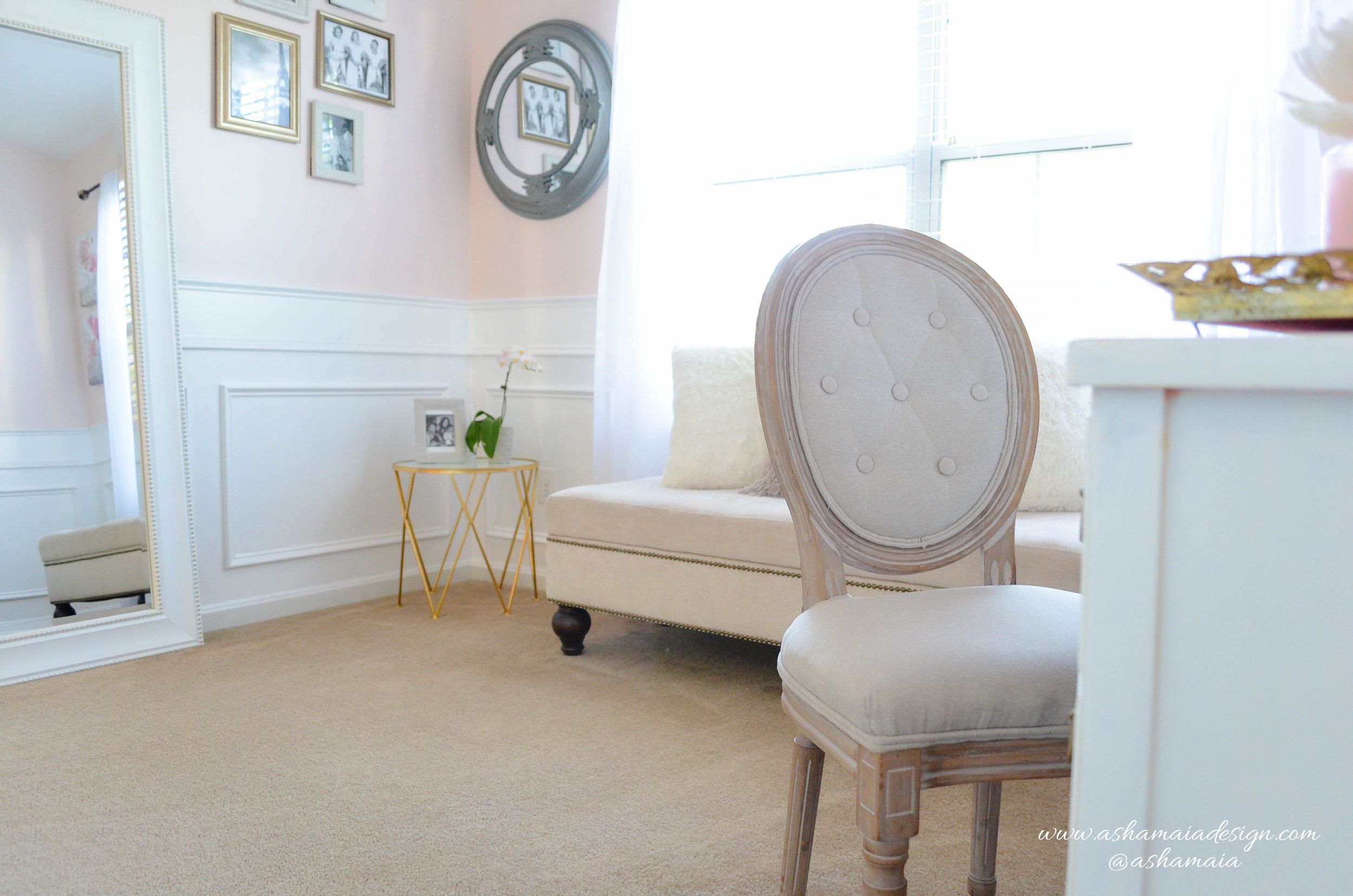 Intimate White Parisian Style Elegant Beauty Room with White Wainscoting, Large White Full Body Mirror, Picture Frame Wall Gallery, Gold Gilded Side Table and King Louis Chair
