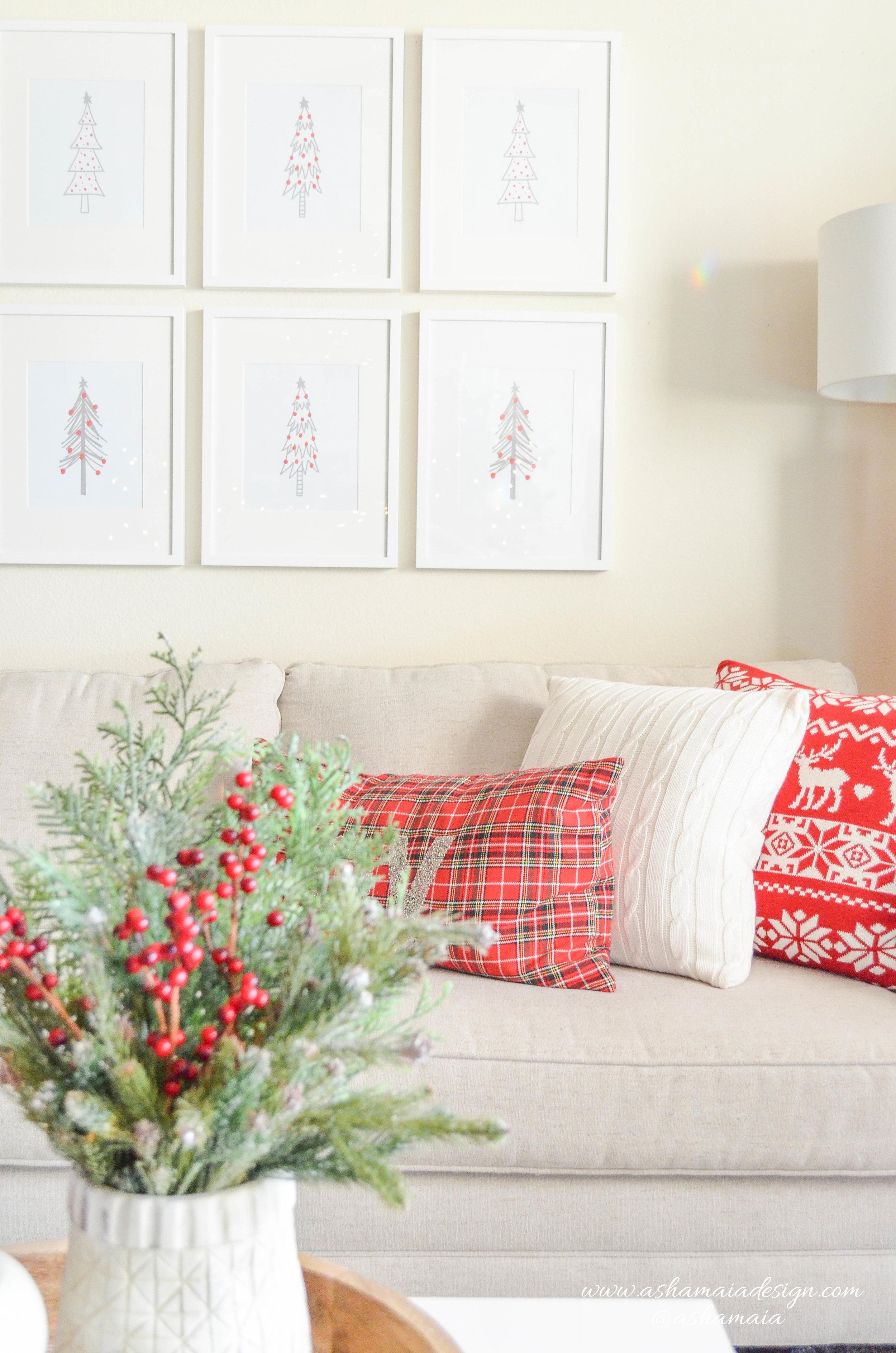 Warm & Cozy Christmas Wireframe Christmas Tree Wall Art
