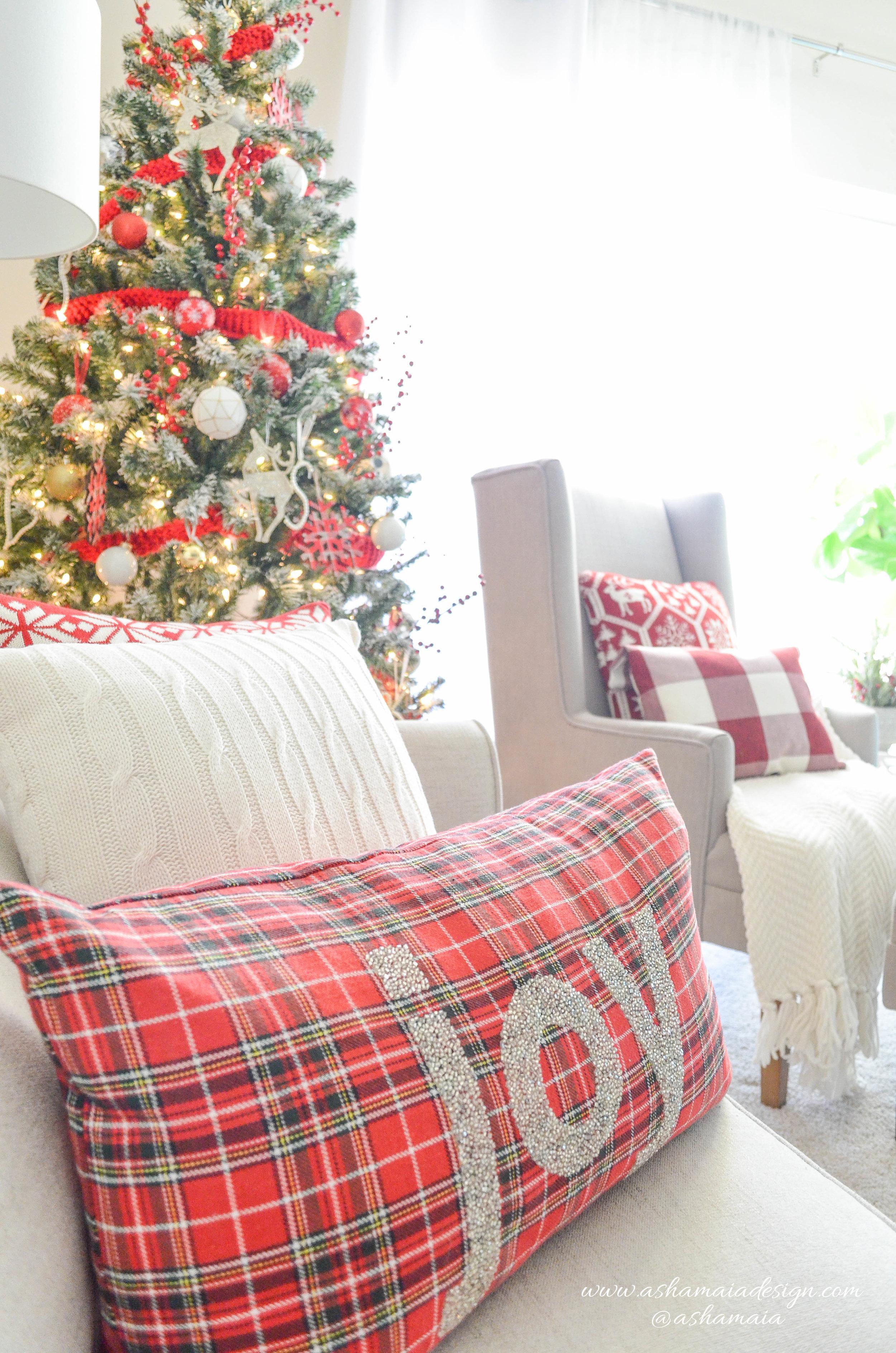 Warm & Cozy Christmas Living Room Decor with Red Buffalo Check Throw, Christmas Sweater Throw Pillows and Christmas Tree