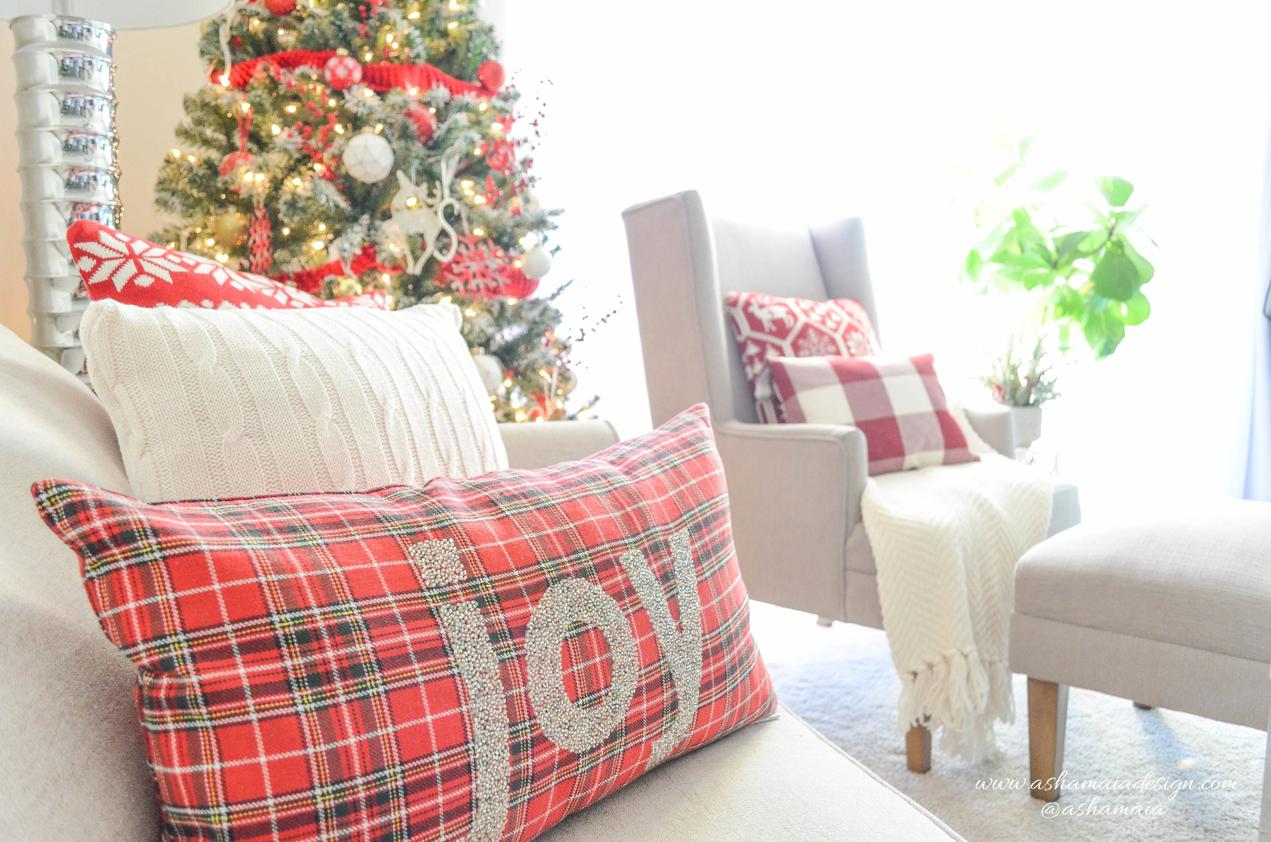 Warm & Cozy Christmas Living Room Decor with Red Buffalo Check Christmas Sweater Throw Pillows and Christmas Tree