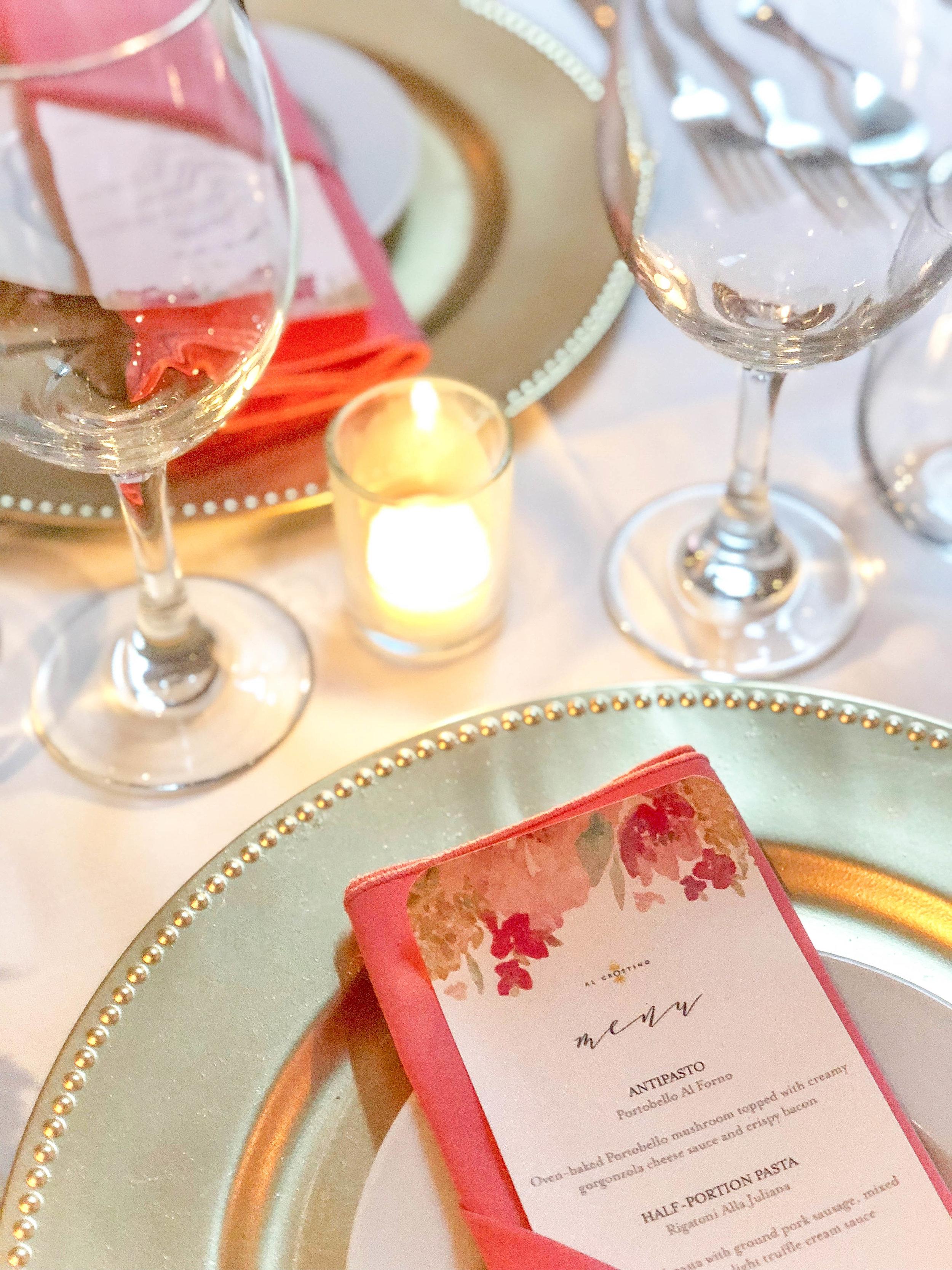 Intimate Coral Wedding Reception