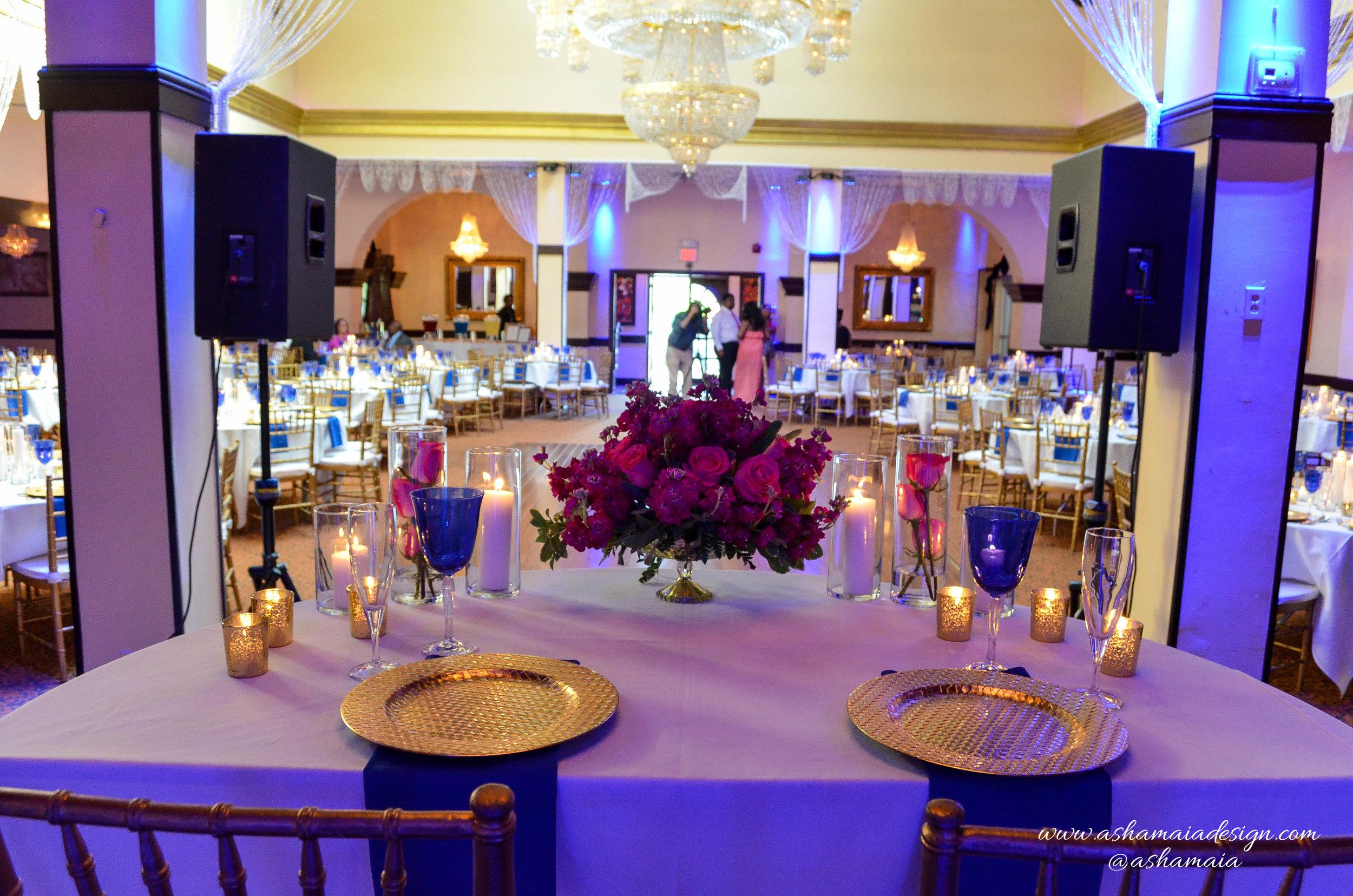 Blue, Gold & Fuchsia Wedding