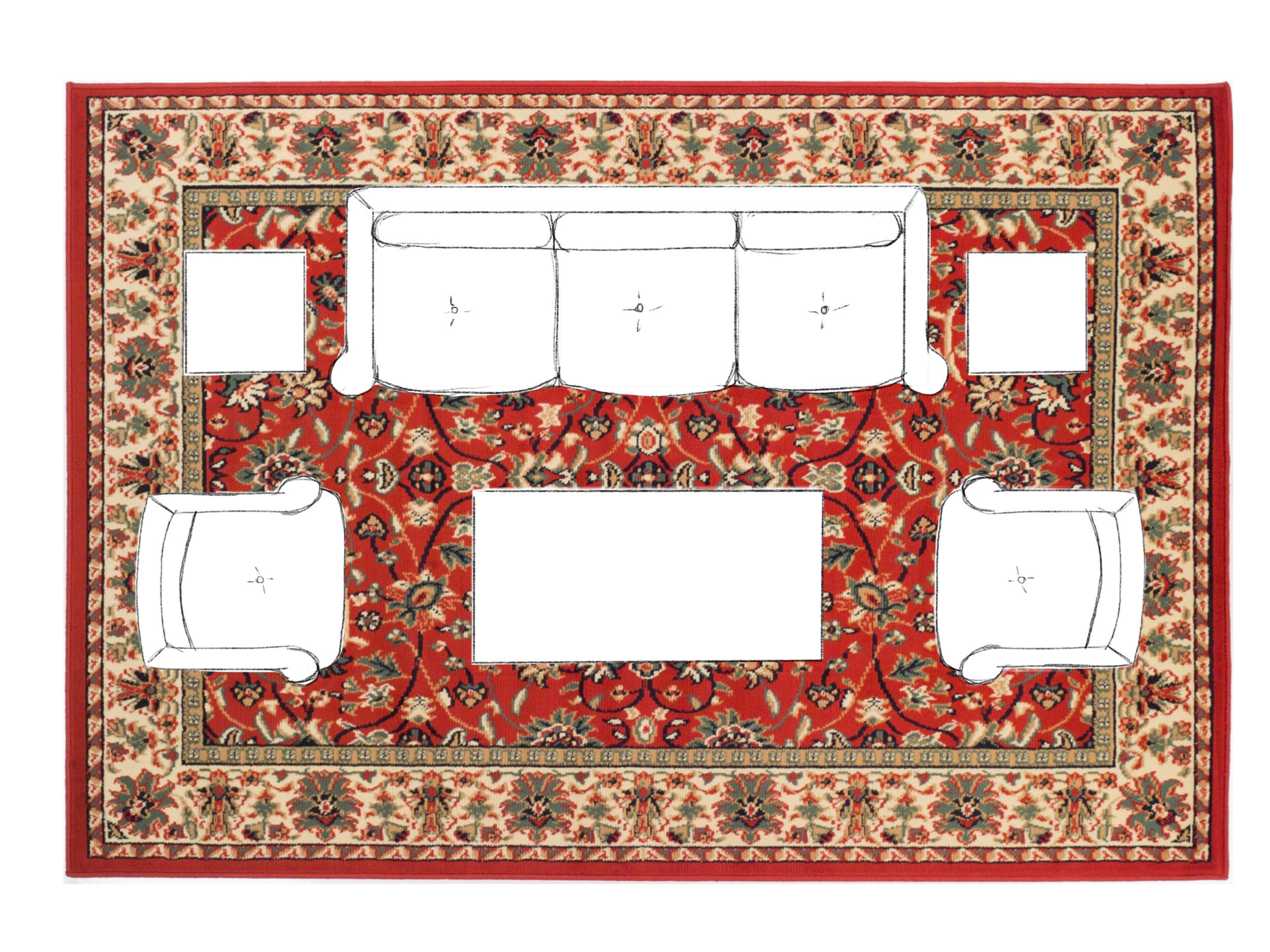 How to Choose the Right Size Area Rug - All Legs On Living Room Layout. Asha-Maia Design | Interiors + Events, Alexandria, VA 22302