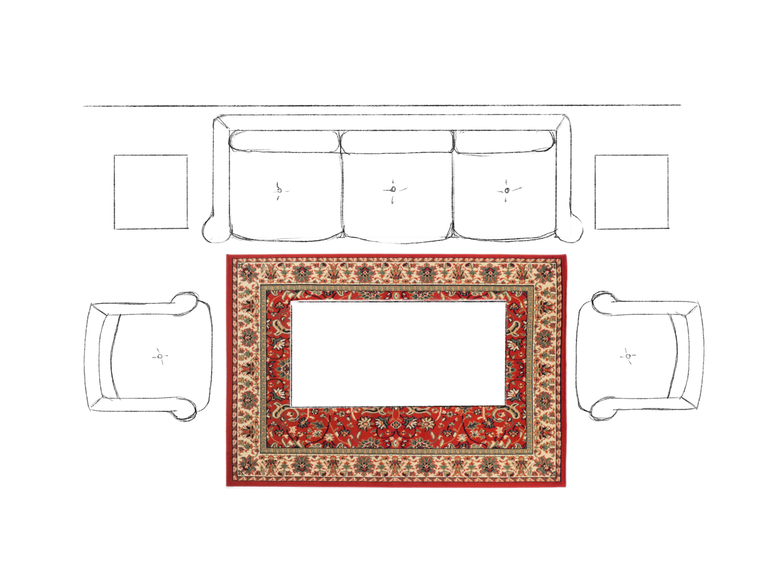 How to Choose the Right Size Area Rug - All Legs Off Living Room Layout. Asha-Maia Design | Interiors + Events, Alexandria, VA 22302