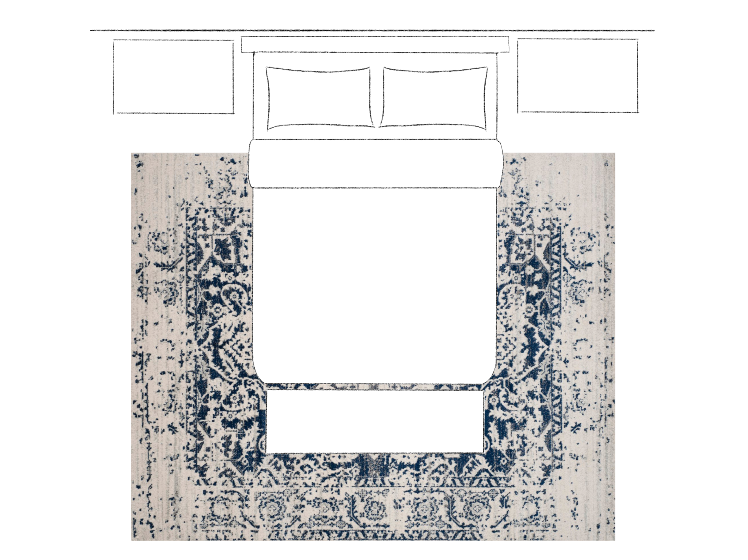 How to Choose the Right Size Area Rug - 2/3 On Layout. Asha-Maia Design | Interiors + Events, Alexandria, VA 22302