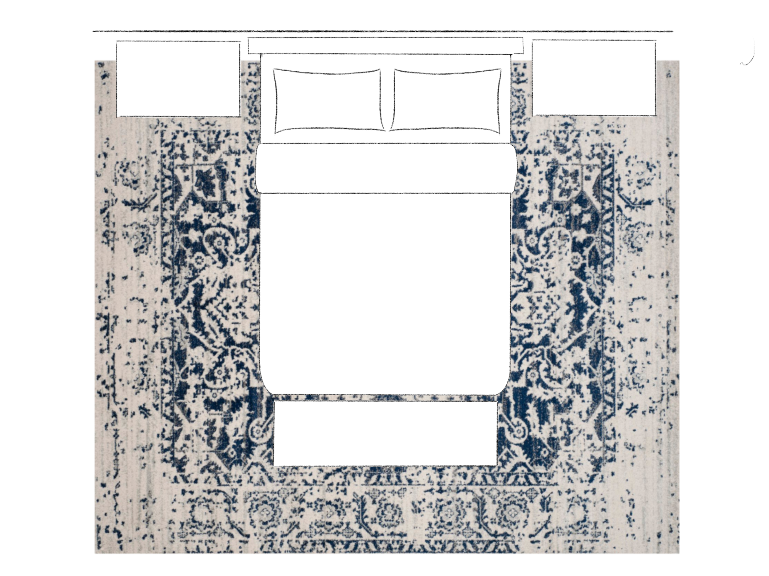 How to Choose the Right Size Area Rug - All Legs On Bedroom Layout. Asha-Maia Design | Interiors + Events, Alexandria, VA 22302