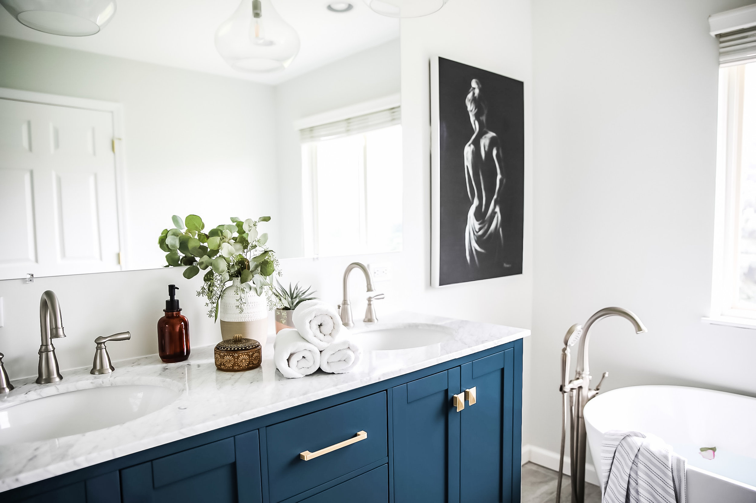Beautiful Blue Master Bathroom