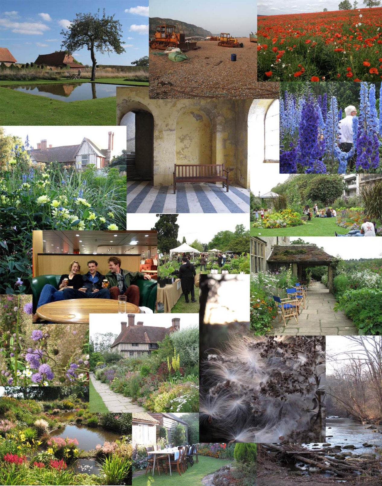 Left beginning from upper left to the bottom right: Le Jardin Plume; Hastings Beach; poppies in Normandy, France; dahlias at Great Dixter, England; Promenade plantée in Paris; delphiniums at the RHS Plant Trials beds at Wisley; park in Blois, France; Friends drinking - Rachael, Yannick, and James; Courson Flower Show in France;  Succissia pratensis; Great Dixter's Long Border; Milkweeds and goldenrod in Rhode Island;  Keith Wiley's Wildside in Devon, UK; dinner at private garden; White Clay Creek Preserve, Pennsylvania
