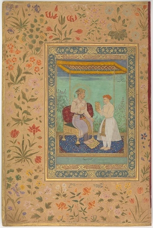 """Figure 1: This painting by the artist Manohar shows Emperor Jahāngīr and his prime minister and father-in-law I'timād al-Daulah.While the frame is filled with a wide array of stylized and imaginary flowers delicately outlined in gold, the border behind the two men contains, from left to right, a tall cockscomb (Celosia argentea), red-and-white and purple-white opium poppies (Papaver somniferum), blue larkspur (Consolida sp.), red corn poppies (Papaver rhoeas), French marigolds (Tagetes patula), and a common mallow (Malva sylvestris), all rendered in minute, naturalistic detail. """"Jahangir and His Vizier, I'timad al-Daula,"""" by Manohar, c. 1615; Source: The Metropolitan Museum of Art, New York."""