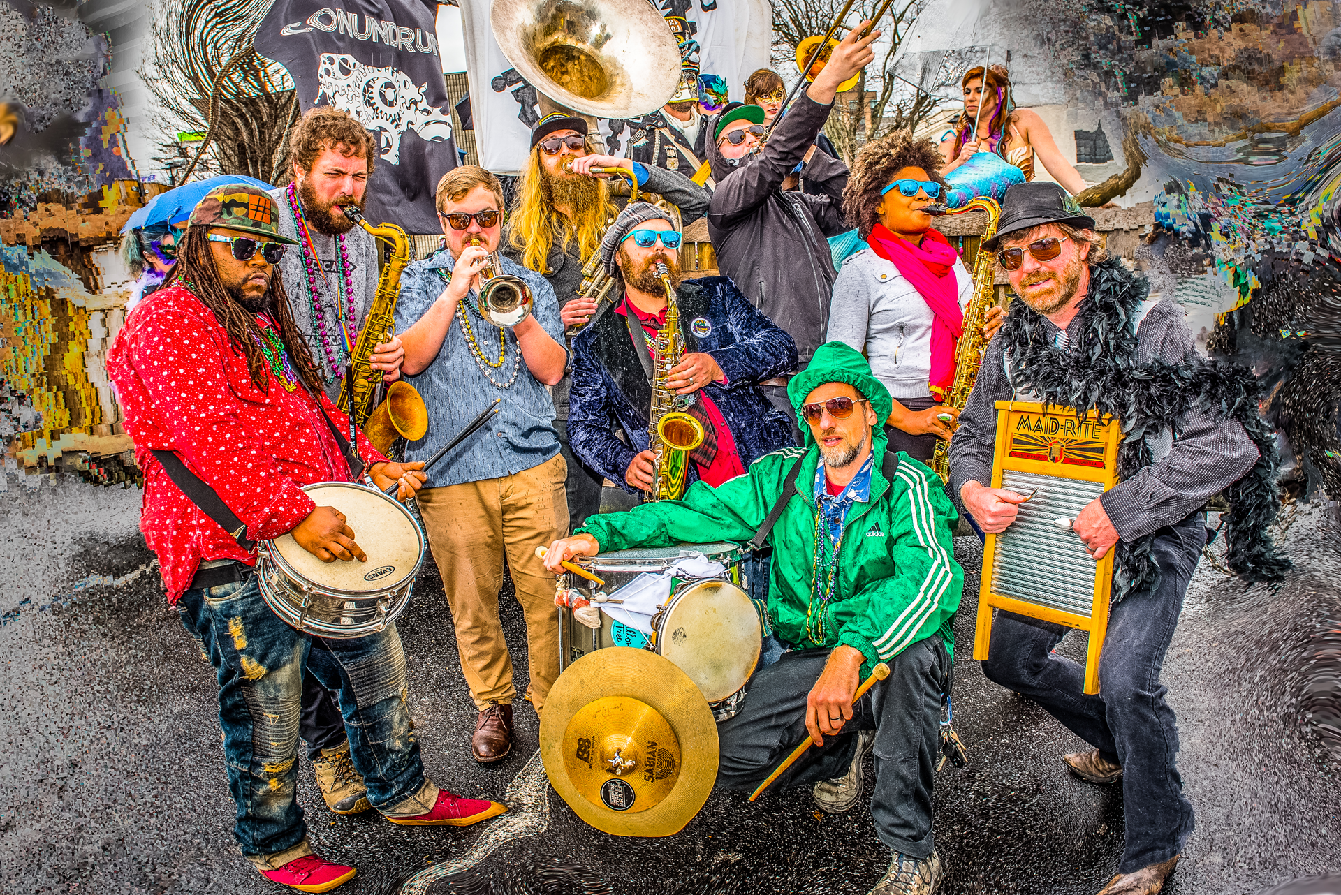 """Empire Strikes Brass (ESB) is a high energy Brass-Funk-Rock band hailing from the city of Asheville, North Carolina. Formed on the streets of their hometown, ESB is rooted in the New Orleans Brass Band tradition of second-line parades and deep moving grooves reminiscent of old school funk. Combining complex musical arrangements with thoughtful lyrical song structure, ESB can stretch out and dig deep when they are feeling it or keep things tight and concise. The fat sound of the horns paired with one dirty rhythm section makes the music downright psychedelically nasty! Founded in 2012, ESB intentionally stretches the boundaries of the stereotypical brass band paradigm, fusing sounds from various genres and weaving them together with the common thread of Brass. The diversity of the music within their sets keep audiences guessing what is next to come.  Featuring rich group and strong lead vocals including Grammy Award winner Debrissa Mckinney (Secret Agent 23 Skidoo), ESB not only takes its audiences on a ride to the dark side and back instrumentally, they also use the force of soaring melody and lush harmony to transport the listeners to another dimension. The band released its debut album, """"Theme For A Celebration"""" in 2017 and it was tapped as one of the top 100 album releases in 2017 by WNCW 88.7 radio. Since their conception, ESB has been a consistent fixture at various festivals throughout the east coast.They've had the pleasure of having Warren Haynes (Allman Bros. Band and Gov't Mule) sit in with them at New Mountain Amphitheater in Asheville, NC and the honor of headlining four years in a row celebrating the life of Dizzy Gillespie in his hometown of Cheraw, SC, for the South Carolina Jazz and Heritage Festival. ESB has co-billed with such artists as Dr. John & Lettuce. The horns have sat in on performances with Galactic, The Big Something, and many others. ESB horn players JP Furnas, Paul Juhl and Alex Bradley are also featured on the live album compilation fr"""